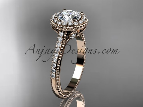 """14kt rose gold diamond floral wedding ring, engagement ring with a """"Forever One"""" Moissanite center stone ADLR101"""