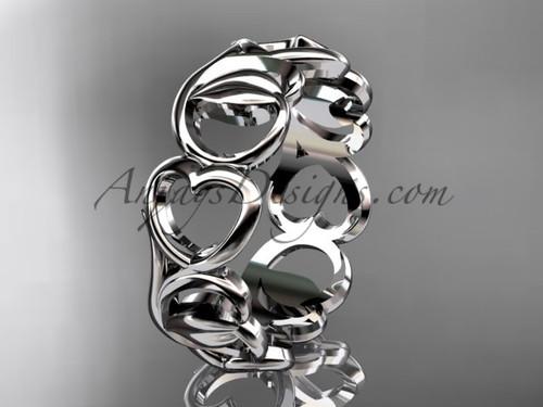 Platinum Heart Wedding Band - Modern Leaf Engagement Ring ADLR560G