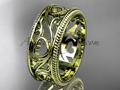 Ornament Heart Ring Band - Leaf Bridal Ring, Heart Wedding Ring Gold ADLR561G