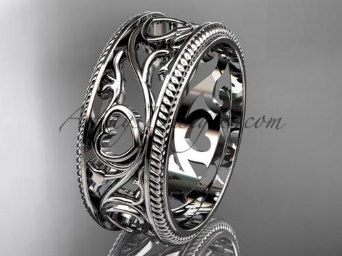 Ornament Heart Wedding Band - Platinum Engagement Ring ADLR561G