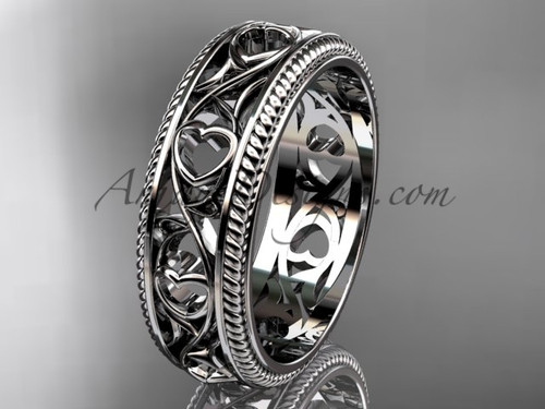 Wedding Band with Heart - Gold Heart Ring, Ornament Bridal Ring ADLR562G