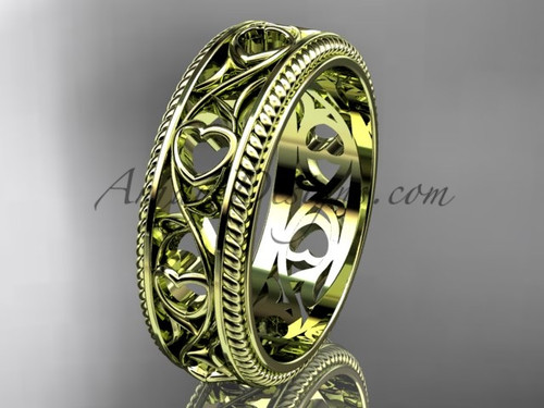 Ornament Heart Engagement Ring Band -  Yellow Gold Ornament Wedding Band ADLR562G