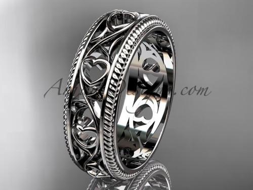 Hearts Wedding Ring Bands - Platinum Ornament Heart Wedding Band ADLR562G