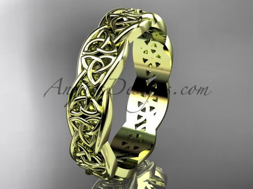 Celtic Triquetra Wedding Bands - no Diamond Yellow Gold Celtic Wedding Band CT7581G