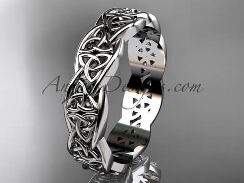 Platinum  Mens Celtic Wedding Band, Triquetra Wedding Band For mens CT7581G
