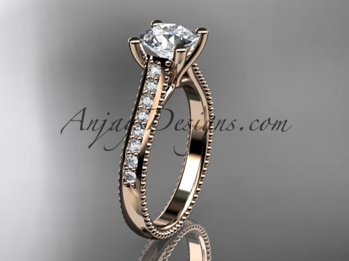 "14kt rose gold diamond unique engagement ring, wedding ring with a ""Forever One"" Moissanite center stone ADER116"
