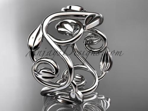 Modern Engagement Ring, Platinum Leaf Wedding Band,   Nature Inspired Engagement Ring ADLR592G