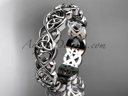 Heart  Wedding Ring, Irish Triquetra Celtic Band, Platinum Marriage Ring CT7564G