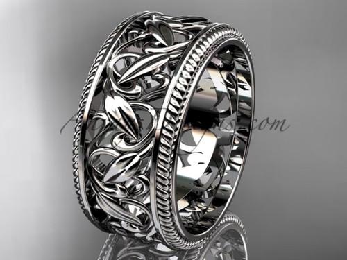 Modern Wedding Ring, Platinum Leaf Wedding Band,  Plant Engagement Ring ADLR594G