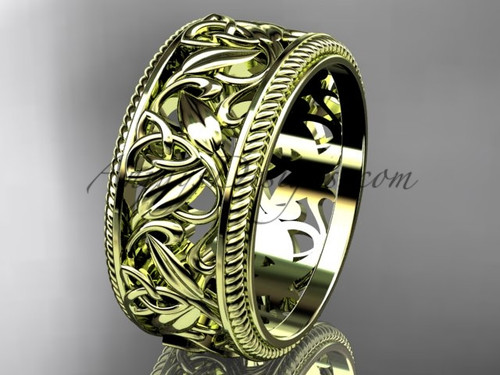 Modern Celtic  Band, 14Kt Yellow Gold Wedding Band, Triquetra Engagement Ring CT7595G