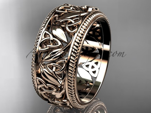 Rose Gold Triquetra & Leaf Wedding Band for Ladies CT7596G
