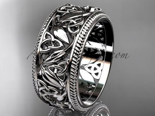Celtic Triquetra Wedding Band - Trinity & Leaf Ring CT7596G