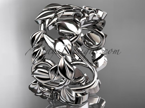 Nature Inspired Engagement Wedding Ring , 14k White Gold Bridal Ring, Leaf Pattern Wedding Band ADLR590G