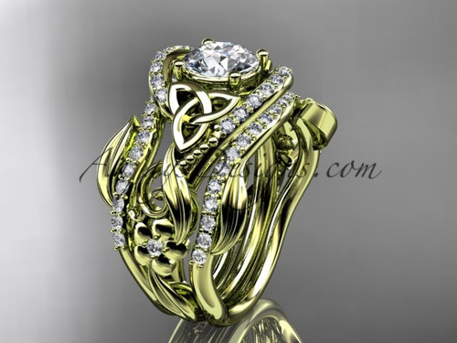 """14kt yellow gold diamond celtic trinity knot wedding ring, engagement ring with a """"Forever One"""" Moissanite center stone and double matching band CT7211S"""
