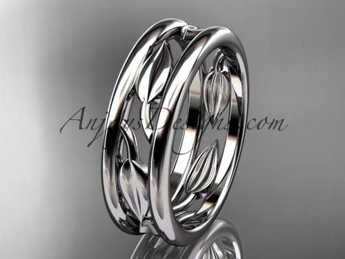 platinum  leaf wedding band, engagement ring ADLR400G