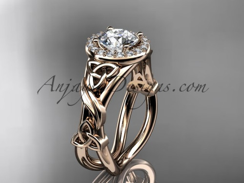 "14kt rose gold diamond celtic trinity knot wedding ring, engagement ring with a ""Forever One"" Moissanite center stone CT7302"