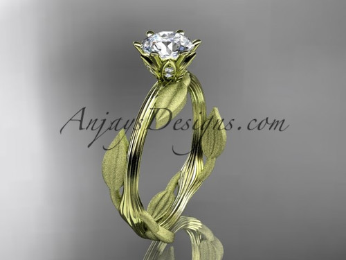 Unique 14k yellow gold leaf and vine engagement ring, wedding ring ADLR343