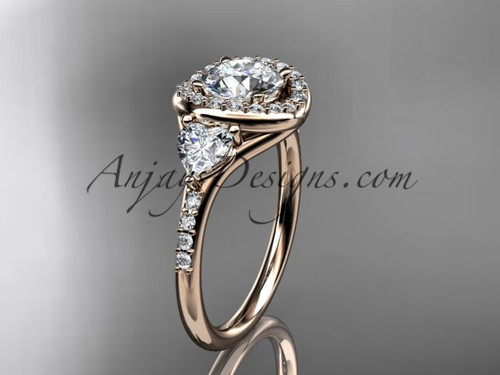 """14kt rose gold diamond unique engagement ring,wedding ring with a """"Forever One"""" Moissanite center stone ADLR201"""