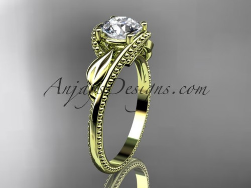 """Unique 14kt yellow gold engagement ring with a """"Forever One"""" Moissanite center stone ADLR322"""