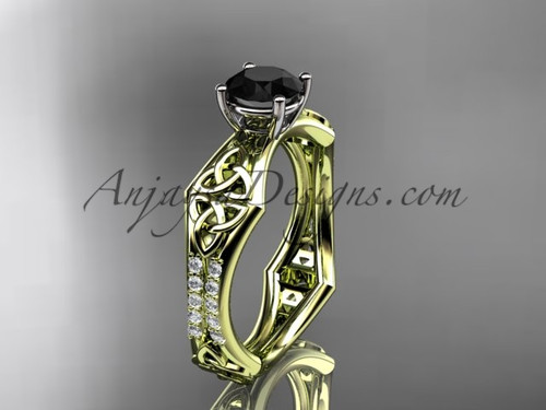 14kt yellow gold diamond celtic trinity ring,  triquetra ring, engagement  ring with a  Black Diamond center stone CT7353