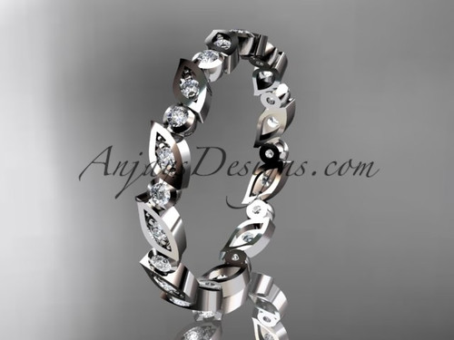 14k white gold diamond leaf and vine wedding band,engagement ring ADLR12B