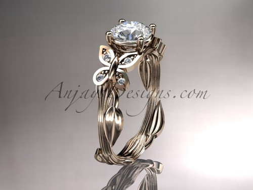 "14kt rose gold diamond leaf and vine wedding ring, engagement ring with a ""Forever One"" Moissanite center stone ADLR251"