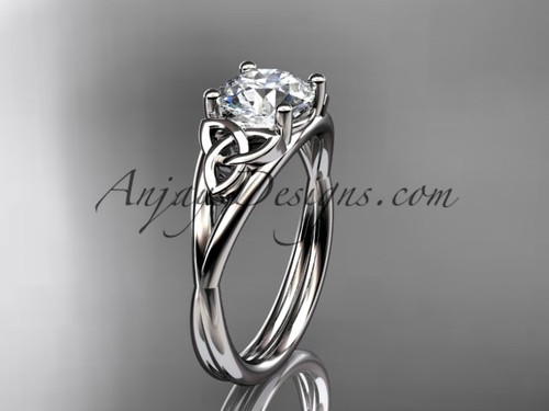 Celtic Knot Ring, White Gold Irish Engagement Ring CT7189
