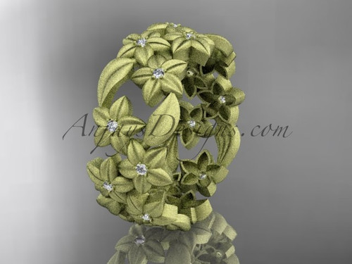 14kt yellow gold diamond floral, leaf and vine wedding ring,engagement ring ADLR250