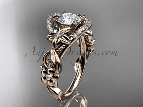 Simple Rose Gold Engagement Ring, Golden Flower Ring ADLR211