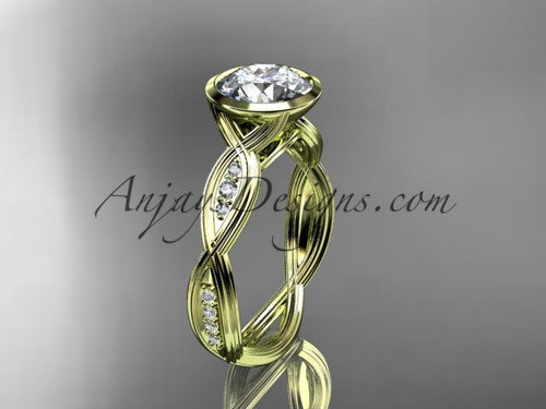 "14k yellow gold diamond wedding ring,engagement ring with  ""Forever One"" Moissanite center stone ADLR24"