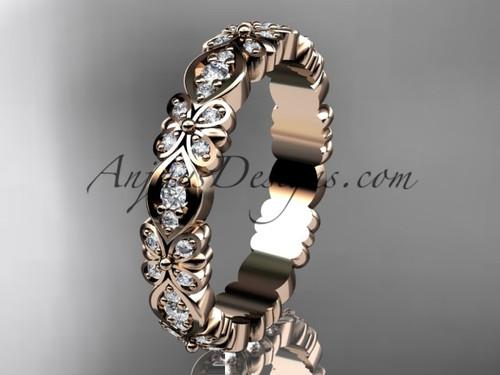 Diamond Flower Engagement Ring, Rose Gold Wedding Band ADLR122B