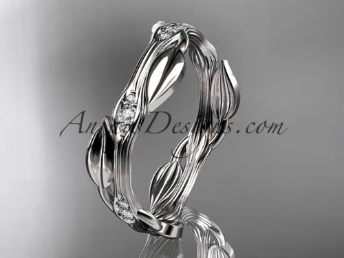 14k white gold diamond leaf and vine wedding ring,engagement ring ADLR31B