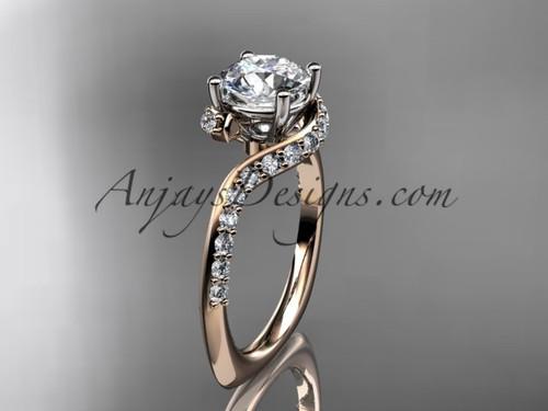 Unique 14k rose gold engagement ring, wedding ring ADLR277