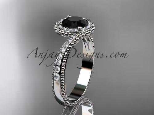 platinum halo diamond engagement ring with a  Black Diamond center stone ADLR379
