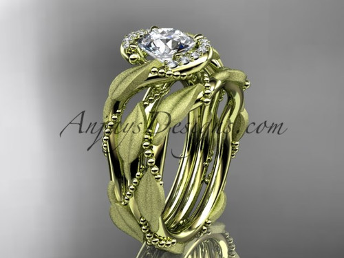 "14kt yellow gold diamond leaf and vine wedding ring, engagement set with a ""Forever One"" Moissanite center stone ADLR65S"