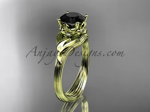 14kt yellow gold diamond flower, leaf and vine wedding ring, engagement ring with a Black Diamond center stone ADLR240