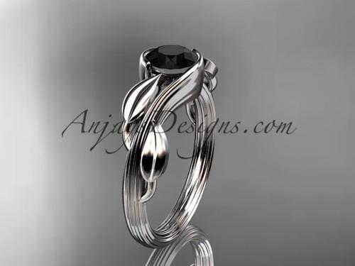 Black Diamond Leaf Engagement Ring 14kt White Gold ADLR273