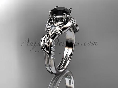 Unique Platinum diamond flower, leaf and vine wedding ring, engagement ring with a Black Diamond center stone ADLR224