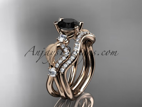 14kt rose  gold diamond leaf and vine wedding ring, engagement set with Black Diamond center stone ADLR68S