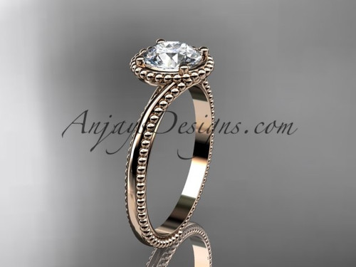 """14kt rose gold  wedding ring, engagement ring with a """"Forever One"""" Moissanite center stone ADLR389"""