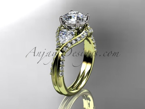 """Unique 14kt yellow gold diamond wedding ring, engagement ring with a """"Forever One"""" Moissanite center stone ADLR319"""