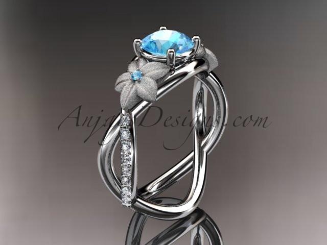 14K White Gold Diamond Leaf and Vine Birthstone Ring ADLR90 Aquamarine Nature Inspired Jewelry