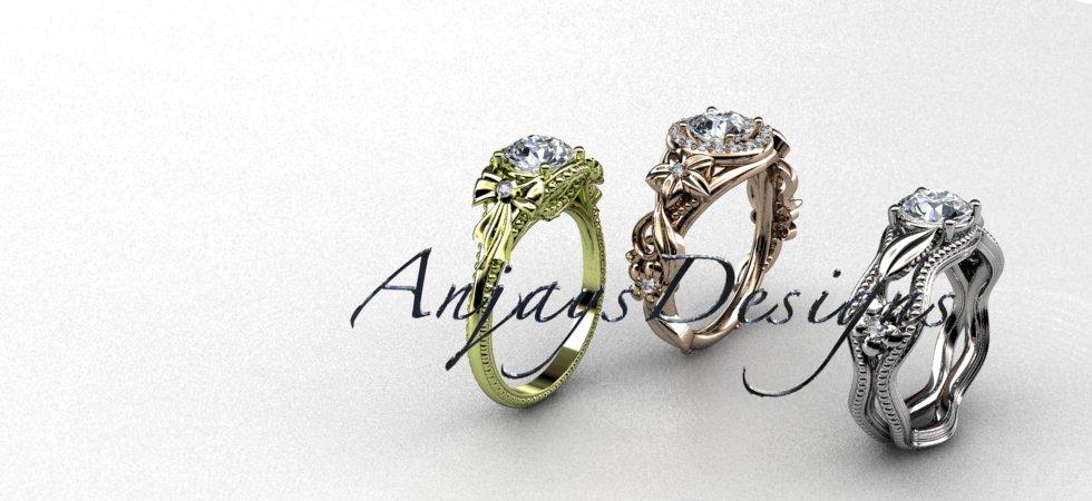 Nature Inspired Engagement  Rings Flower Wedding Rings | Anjaysdesigns.com