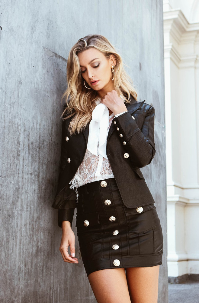 NO EXCUSES LEATHER JACKET BLACK - IVORY & CHAIN