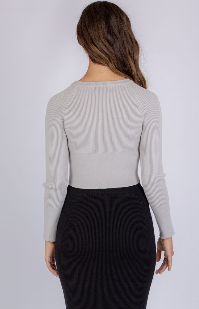 GREY KNIT CROPPED TOP