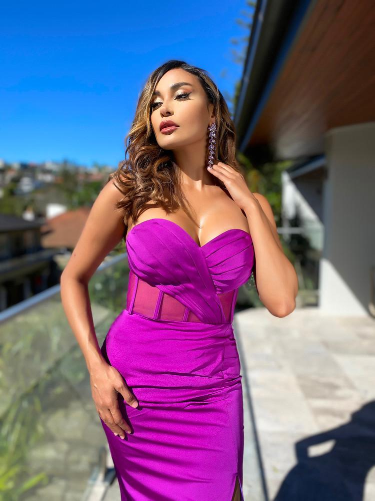 ADRIANA GOWN - MAGENTA