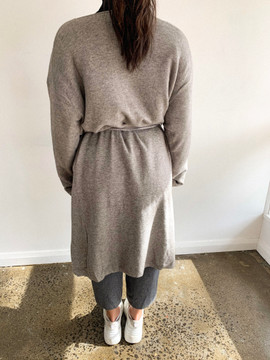 GREY KNIT CARDIGAN WITH TIE