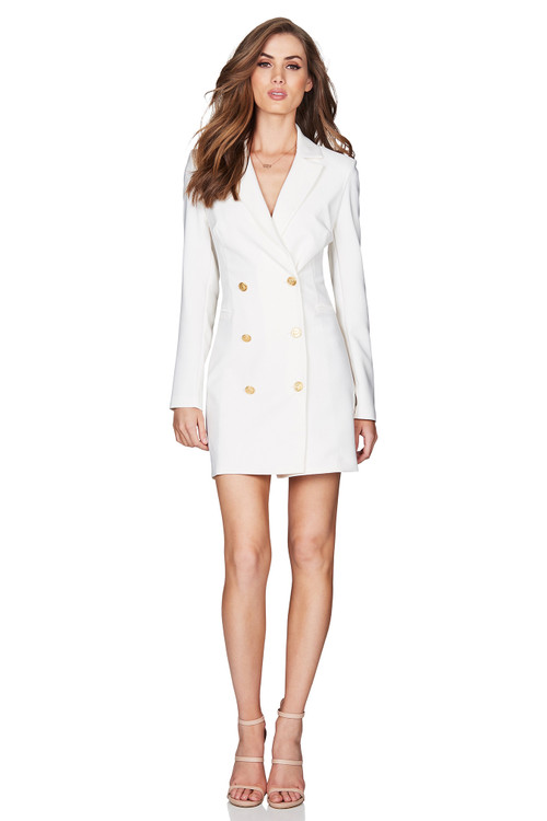 MILANO BLAZER DRESS WHITE - NOOKIE