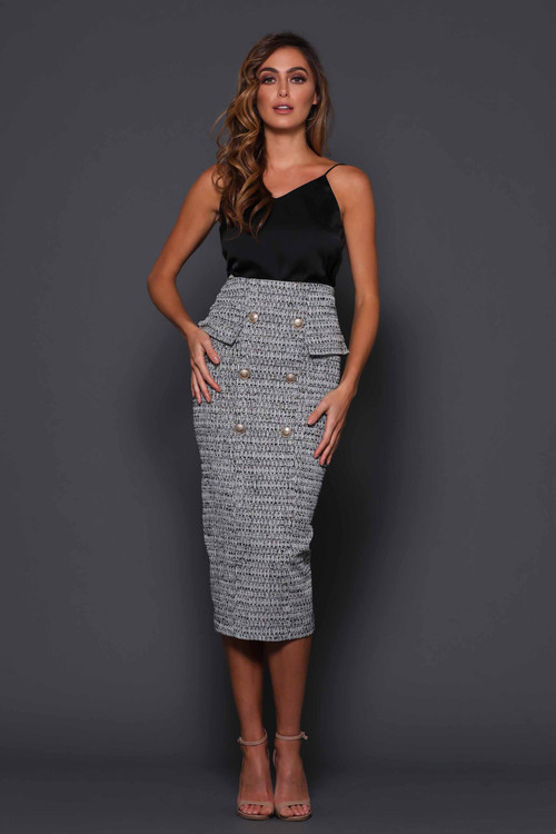 SILVIA BLACK TWEED SKIRT - ELLE ZEITOUNE