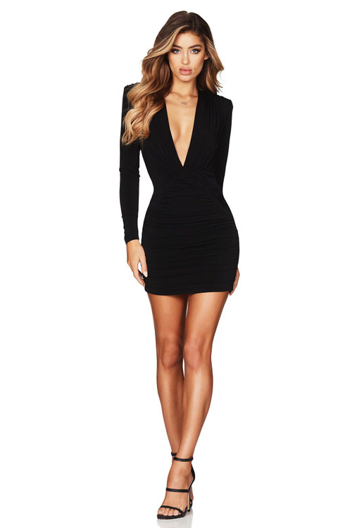 TEMPTATION LONG SLEEVE MIDI BLACK